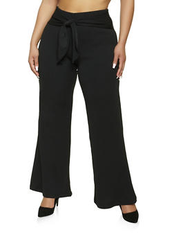 Plus Size Textured Knit Tie Front Palazzo Pants - 1961060583109