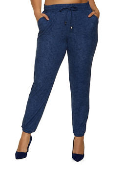 Plus Size Blue Ribbed Joggers - 1961060583361