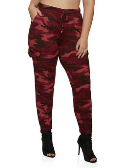 Plus Size Red Camo Soft Knit Joggers - 1961060583871