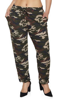 Plus Size Camo Ribbed Joggers - 1961060584732