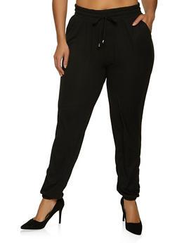 Plus Size Black Ribbed Joggers - 1961060588572