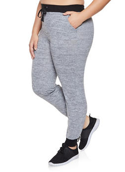 Plus Size Brushed Knit Joggers - GRAY - 1961060588888