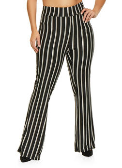 Plus Size Striped Bell Bottom Pants - 1961061633359