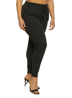 Plus Size Solid Soft Knit Joggers - 1961061633509