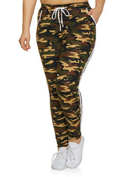 13a5aaefc32 Plus Size Camo Contrast Varsity Stripe Joggers - WHITE - 1961061633529