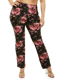 Plus Size Floral Flared Pants - 1961061637492