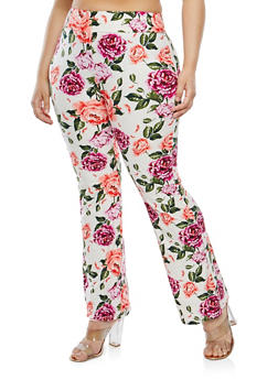 Plus Size Soft Knit Floral Flared Pants - 1961061637493