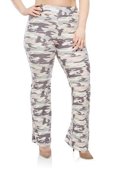 Plus Size Camo Print Flared Pants - 1961061637494