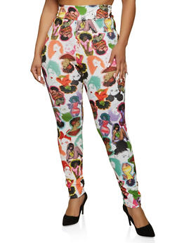 Plus Size Afro Girl Print Pull On Pants - 1961062120004