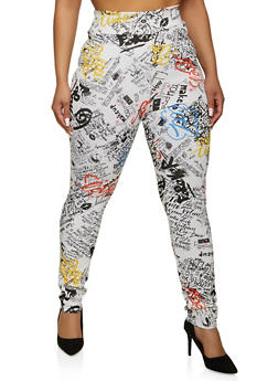 Plus Size Printed High Waisted Pull On Pants - 1961062124000