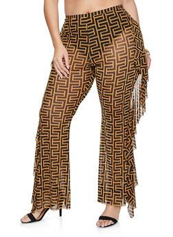Plus Size Geometric Print Ruffled Flared Pants - 1961062124250