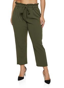 Plus Size Crepe Knit Paper Bag Waist Pants - 1961062416769