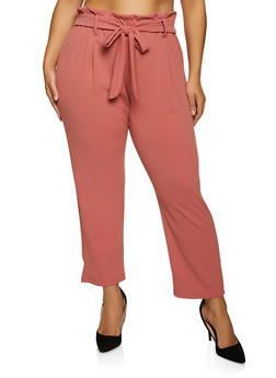 Plus Size Crepe Knit Paper Bag Waist Pants - 1961062416769