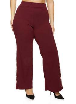 Plus Size Lace Insert Crepe Knit Pants - 1961062416788