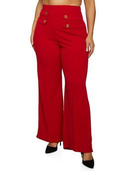Plus Size Pintuck Crepe Knit Palazzo Pants - 1961062416789