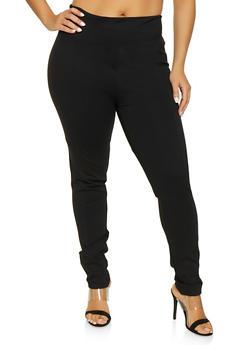 Plus Size Waist Control Ponte Pants - 1961062700053