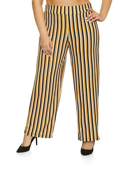 Plus Size Striped Palazzo Pants - 1961062700720
