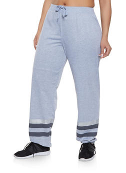 Plus Size Striped Leg Sweatpants - 1961062701457
