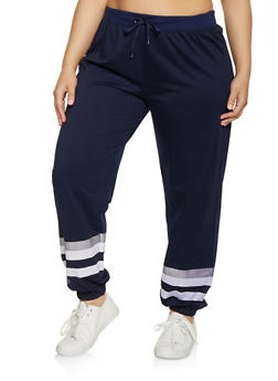 Plus Size Striped Leg Sweatpants - 1961062701457