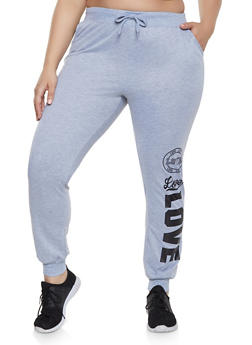 Plus Size Drawstring Waist Love Joggers - 1961062707102