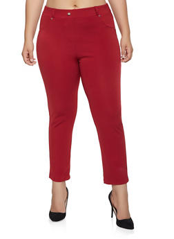 Plus Size Ponte Knit Pull On Pants - 1961062707582