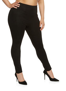 Plus Size High Waisted Ponte Pants - 1961062707653