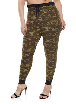 Plus Size Camouflage Soft Knit Joggers - 1961062900025