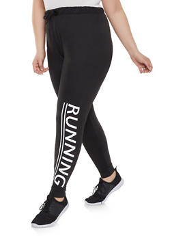 Plus Size Running Graphic Soft Knit Joggers - 1961062901010