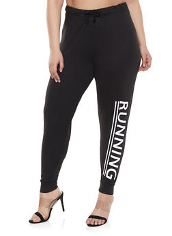 Plus Size Running Graphic Joggers - 1961062901115