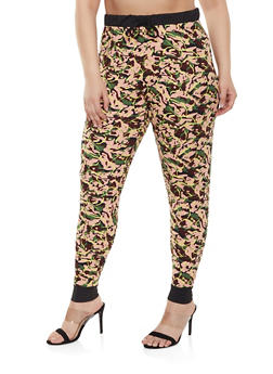 Plus Size Abstract Camo Joggers - 1961062908111