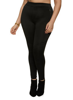 Plus Size Scuba Moto Pants - 1961062909176