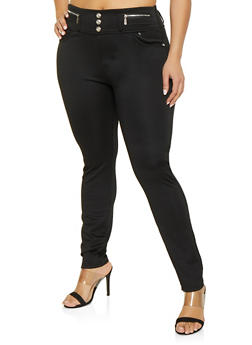 4862358df92 Plus Size High Waisted Zipper Detail Jeggings - 1961063400014