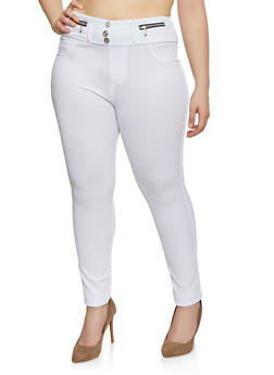 0da8a52b54549 Plus Size High Waisted Zipper Detail Jeggings - 1961063400014