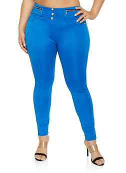 Plus Size High Waisted Zipper Detail Jeggings - 1961063400014
