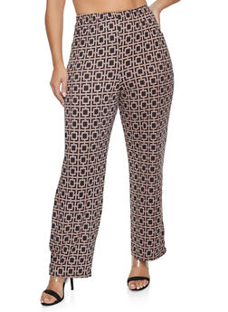Plus Size Geometric Print Flared Pants - 1961063400568