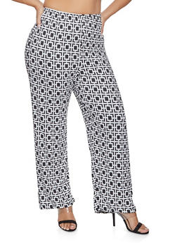 Plus Size Geometric Print Flared Pants - 1961063400568