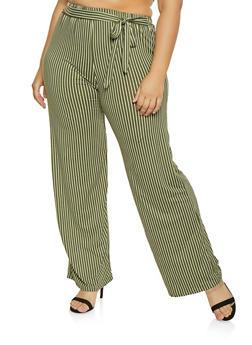 Plus Size Striped Tie Waist Pants - 1961063400871