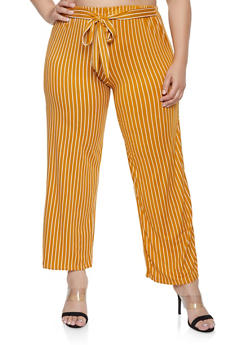 Plus Size Striped Tie Waist Pants - 1961063400871