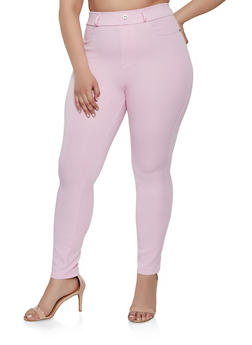 Plus Size Solid Jeggings - 1961063401942