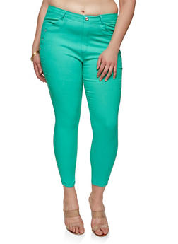 Plus Size Rhinestone Accent Jeggings - 1961063403244