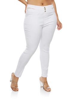 Plus Size High Waisted Dress Ankle Pants - 1961063405514