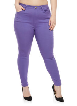 Plus Size Rhinestone Button Stretch Jeggings - 1961063405733