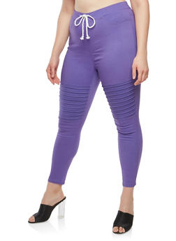 Plus Size Stretch Moto Pants - 1961063407164