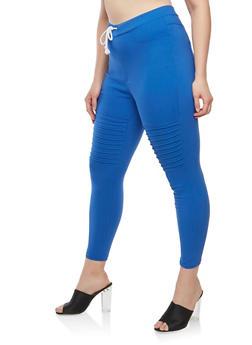 Plus Size Stretch Moto Pants - 1961063407164