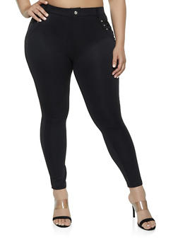 Black Polyester Pull On Pants