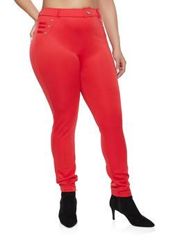 Plus Size Scuba Pull On Pants - 1961063407286