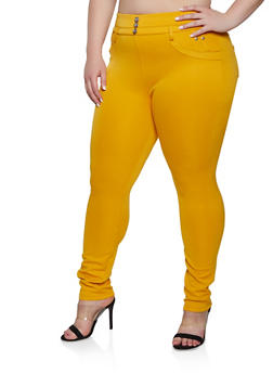 Plus Size Rhinestone Button Jeggings - 1961063408434