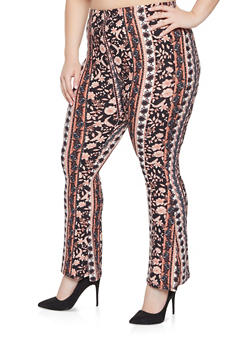 Plus Size Printed Flared Pants - 1961074010020