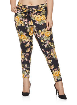 Plus Size Tie Front Pants - BLACK - 1961074010088
