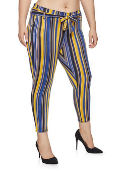 Plus Size Tie Front Pants - NAVY - 1961074010088